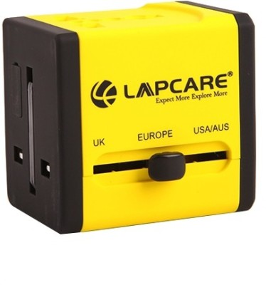 Lapcare Worldwide Adapter with Dual USB Port Worldwide Adaptor(Yellow)