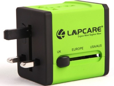 Lapcare Worldwide Adapter with Dual USB Port Worldwide Adaptor(Green)