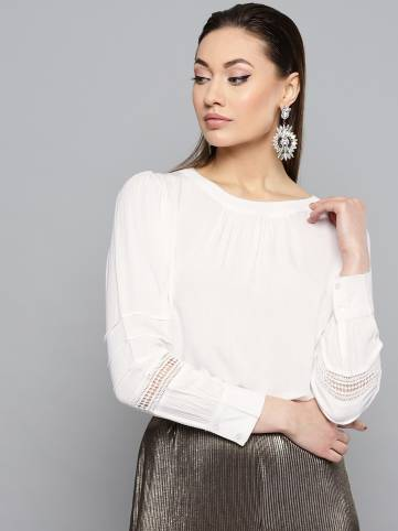 rareCasual Cuffed Sleeve Embroidered Women White Top