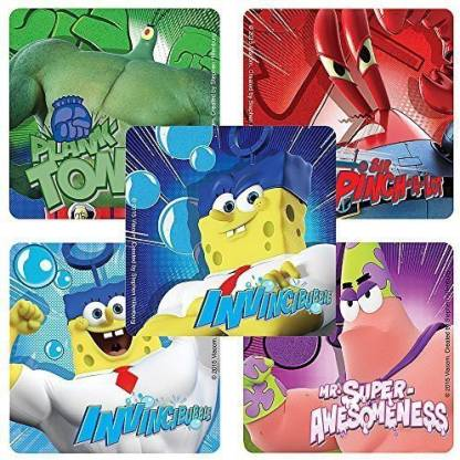 Smilemakers SpongeBob: Sponge out of Water Movie Stickers Birthday Party Favors 75 per Pack