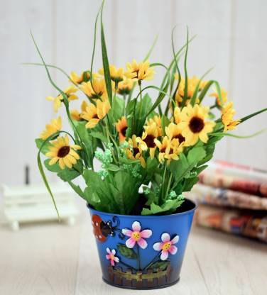 ENFIN HOMES Blue Artficial Sunflower with Flower Pot Blue Sunflower Artificial Flower  with Pot