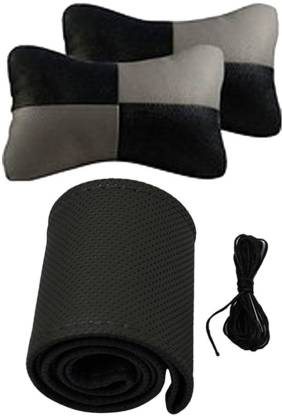 Allure Auto 1 Leatherite Car Steering Cover, 1 Pair Of Neck Rest Combo