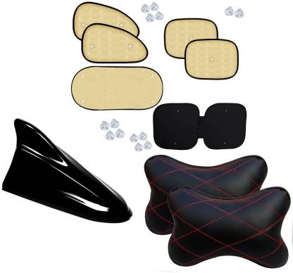 Auto Pearl 1Pcs Car Vastra Neck Rest Pillow Black Red & Shark Fin Replacement Signal Receiver Antenna Black And Chipkoo Sun Shade Curtain Beige Set of 6 Combo