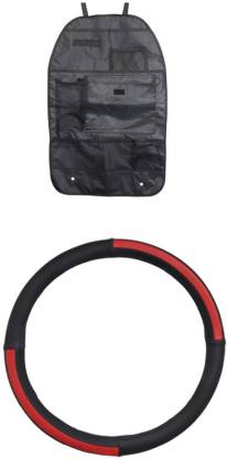 Allure Auto 1 Ring Type Car Steering Cover, 1 Seat organizer Combo