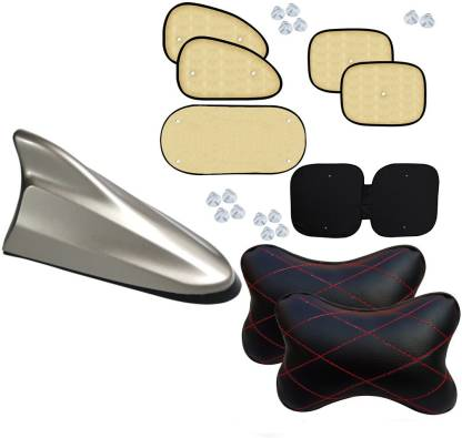 Auto Pearl 1Pcs Car Vastra Neck Rest Pillow Black Red & Shark Fin Replacement Signal Receiver Antenna Silver And Chipkoo Sun Shade Curtain Beige Set of 6 Combo