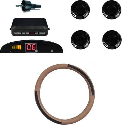 Allure Auto 1 Ring Type Car Steering Cover, Car Reverse Parking Sensor With Led Display- Black Combo