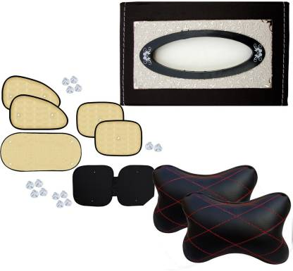 Auto Pearl 1Pcs Car Vastra Neck Rest Pillow Black Red & Car Tissue Paper with Box Cola Beige Flower And Chipkoo Sun Shade Curtain Beige Set of 6 Combo