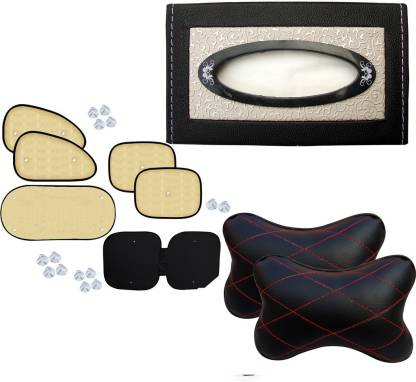 Auto Pearl 1Pcs Car Vastra Neck Rest Pillow Black Red & Car Tissue Paper with Box Black Beige Flower And Chipkoo Sun Shade Curtain Beige Set of 6 Combo
