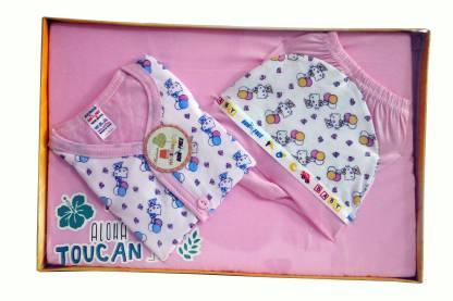 Bonfree BelleGirl 100% Cotton New Born Gift Set of 4 Pcs Premium Pink 0-3M