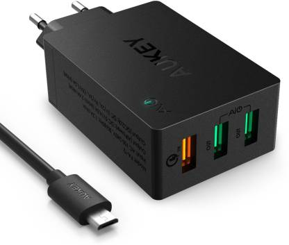 AUKEY PA-T2 QC 2.0 42W 3 Port USB Desktop Wall Charger Multiport Mobile Charger with Detachable Cable