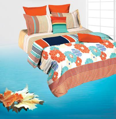 TANGERINE 144 TC Cotton Double Geometric Bedsheet