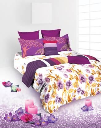 TANGERINE 180 TC Cotton Single Floral Bedsheet