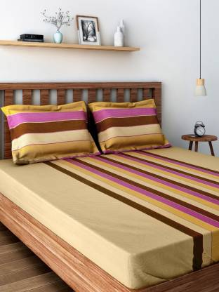SWAYAM 200 TC Cotton Double Striped Bedsheet