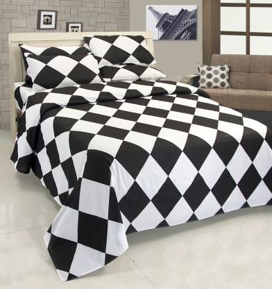 ZESTURE 144 TC Cotton Double Checkered Bedsheet