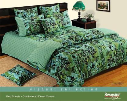 SWAYAM 200 TC Cotton Double King Printed Bedsheet
