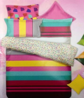 SEJ BY NISHA GUPTA 450 TC Cotton Double King Striped Bedsheet