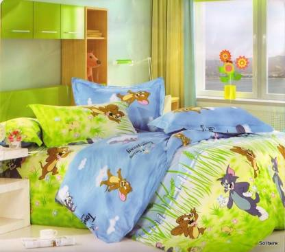 Solitaire 180 TC Cotton Double Abstract Bedsheet
