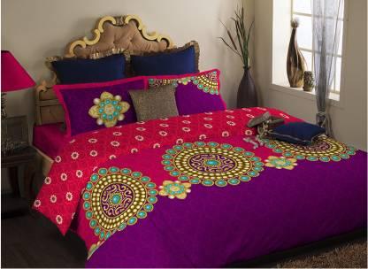 PORTICO NEW YORK 400 TC Satin, Cotton Double Printed Bedsheet