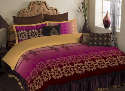 PORTICO NEW YORK Satin, Cotton Double Printed Bedsheet