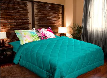 PORTICO NEW YORK 210 TC Satin, Cotton Double Solid Bedsheet
