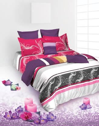 TANGERINE 180 TC Cotton Single Striped Bedsheet