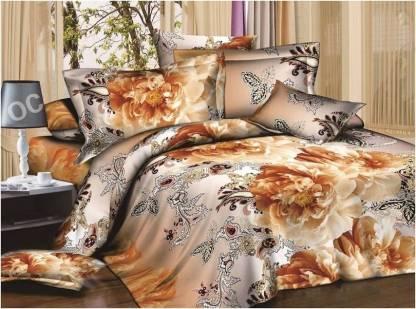 Dexim 150 TC Polyester, Satin Double Floral Bedsheet