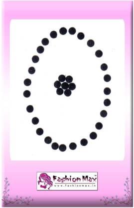 Fashion Max Mini Full Moon Traditional Forehead Black Bindis