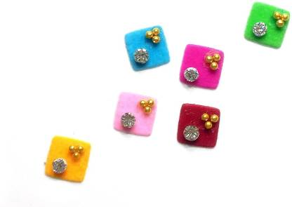 Fashion Max Square Rainbow with Crystal Forehead Multicolor Bindis