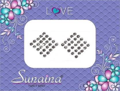 SUNAINA Love Diamond Collection Forehead White Bindis