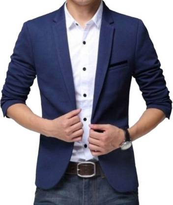Beetle Solid Single Breasted Party Men Blazer