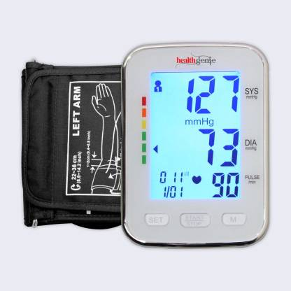Healthgenie BPM04BL Digital Upper Arm Blood Pressure Monitor Fully Automatic | Irregular Heartbeat Detector | Batteries Included | 2 Year Warranty Bp Monitor