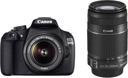 Canon EOS 1200D DSLR Camera (Body with 8 GB Card & Bag EF S18-55 IS II+55-250mm IS II)