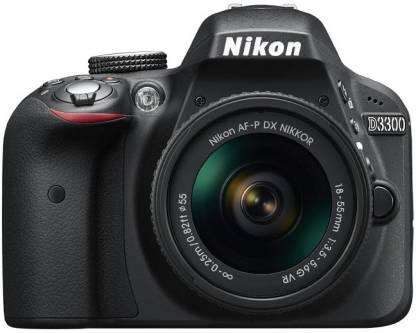 NIKON D3300 DSLR Camera Body with Single Lens: AF-P DX NIKKOR 18 - 55 mm F3.5-5.6 VR (16 GB SD Card + Camera Bag)