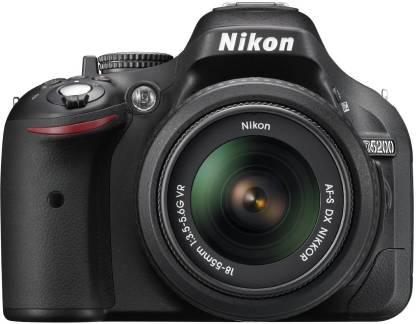 Nikon D5200 DSLR Camera  Body with AF S DX NIKKOR 18 55 mm F/3.5 5.6G VR II Lens  Black  Nikon DSLR   Mirrorless