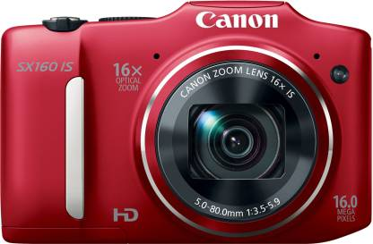 Canon SX160 IS Point   Shoot Camera Red