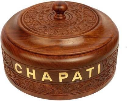 Craft Art India 7.5 Inch (Big Size) Wooden Chapati Box Serve Casserole