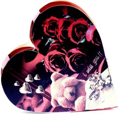 Skylofts I MISS YOU heart box with a cute teddy Chocolate Bars
