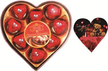 Skylofts Romantic 9pc Heart Box with love valentines pack Chocolate Bars