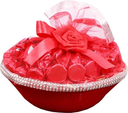 Skylofts Attractive Red Gift Basket Chocolate Bars