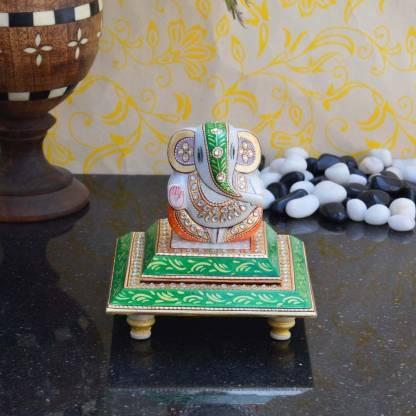 eCraftIndia Gracious Lord Ganesha Marble Pooja Chowki