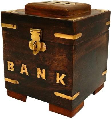 RGRANDSONS RGRANDSONS Handicrafted Wooden Money Bank Kids Piggy Box Gifts Coin Bank