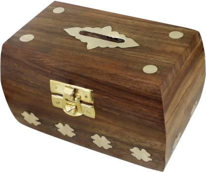 RoyaltyLane Treasure Chest Money Box - Safe Money Box Savings Banks Wooden Carving Handmade - Large Piggy Bank for Kids Coin Bank