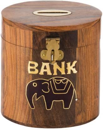 RoyaltyLane Safe Money Box Barrel Shape - Savings Banks Wood Carving Handmade - Piggy Bank Craft - Coin Bank