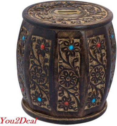 You2Deal Wooden Handicraft Antique Style Money Bank Gift Item Coin Bank