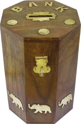 RoyaltyLane Wooden Money Bank Elephant Brass Inlay- Barrel Coin Handmade Money Box- Piggy Bank Retro Coin Bank