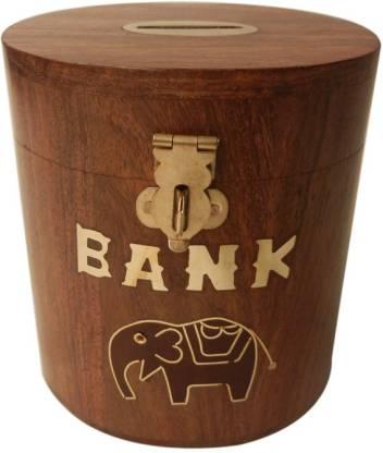 TimberKart Wooden Money Box Oval Decorative Handicraft Gift item Coin Bank