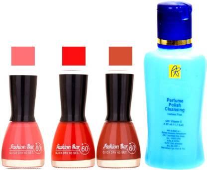 Fashion Bar Stengthening Nail Polish Remover And Pink,Cherry,Redish Brown Shades Nail Polish 52435
