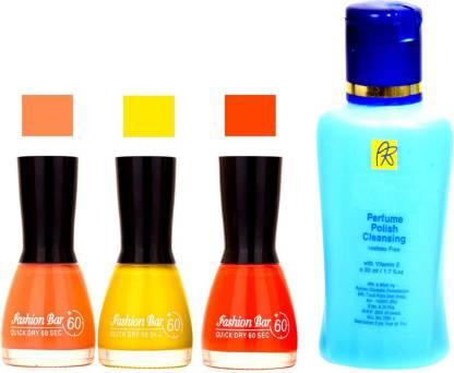 Fashion Bar Stengthening Nail Polish Remover and Peach,Yellow ,Orange,Shades Nail Polish 52449