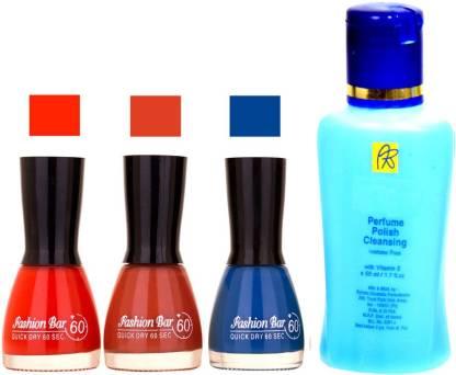 Fashion Bar Stengthening Nail Polish Remover And Red, Redish Browny,Blue Shades Nail Polish 52437