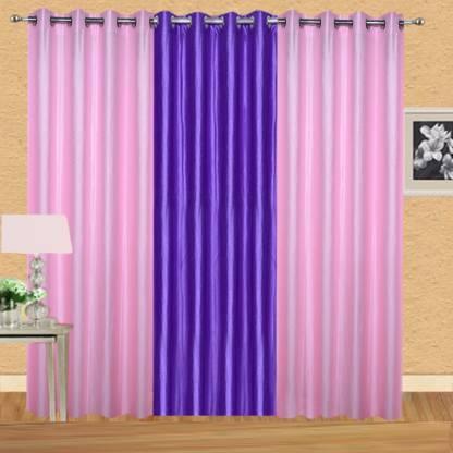 EXCEL BAZAAR 275 cm (9 ft) Polyester Long Door Curtain (Pack Of 3)
